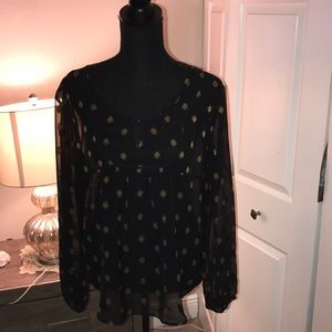 Lucky Brand gold embellished peasant top